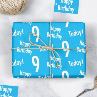 9th Birthday Blue Gift Wrapping Paper & Gift Tags (1 Sheet & 2 Tags) - 'Happy Birthday' - '9 Today!'